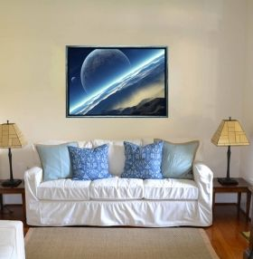 Luxury Framed Wall Art Blue World, Glowing in the dark, 70 x 100 cm