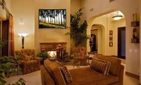 Luxury Framed Wall Art Landscape in Tuscany, Glowing in the dark, 50 x 70 cm