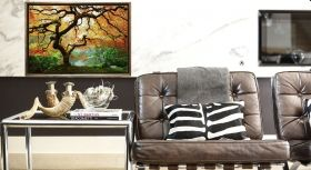 Luxury Framed Wall Art Autumn maple, Glowing in the dark, 50 x 70 cm