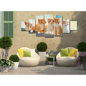 Canvas Wall Art Kittens, Glowing in the dark, Set of 7, 100 x 240 cm (1 panel 40 x 100 cm, 2 panels 35 x 90 cm, 2 panels 30 x 60 cm, 2 panels 30 x 40 cm)