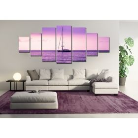 Canvas Wall Art Ocean purple, Glowing in the dark, Set of 7, 100 x 240 cm (1 panel 40 x 100 cm, 2 panels 35 x 90 cm, 2 panels 30 x 60 cm, 2 panels 30 x 40 cm)