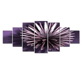 Canvas Wall Art Purple flower, Glowing in the dark, Set of 7, 100 x 240 cm (1 panel 40 x 100 cm, 2 panels 35 x 90 cm, 2 panels 30 x 60 cm, 2 panels 30 x 40 cm)