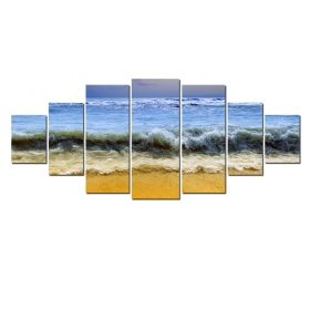 Canvas Wall Art Waves, Glowing in the dark, Set of 7, 100 x 240 cm (1 panel 40 x 100 cm, 2 panels 35 x 90 cm, 2 panels 30 x 60 cm, 2 panels 30 x 40 cm)