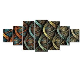 Canvas Wall Art Abstract graphics, Glowing in the dark, Set of 7, 100 x 240 cm (1 panel 40 x 100 cm, 2 panels 35 x 90 cm, 2 panels 30 x 60 cm, 2 panels 30 x 40 cm)