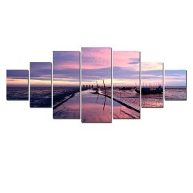 Canvas Wall Art Violet cliff, Glowing in the dark, Set of 7, 100 x 240 cm (1 panel 40 x 100 cm, 2 panels 35 x 90 cm, 2 panels 30 x 60 cm, 2 panels 30 x 40 cm)