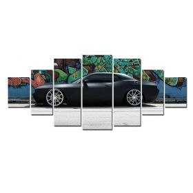 Canvas Wall Art Black car, Glowing in the dark, Set of 7, 100 x 240 cm (1 panel 40 x 100 cm, 2 panels 35 x 90 cm, 2 panels 30 x 60 cm, 2 panels 30 x 40 cm)