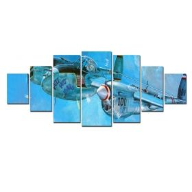 Canvas Wall Art Plane, Glowing in the dark, Set of 7, 100 x 240 cm (1 panel 40 x 100 cm, 2 panels 35 x 90 cm, 2 panels 30 x 60 cm, 2 panels 30 x 40 cm)