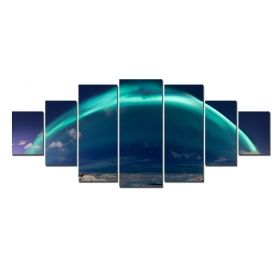 Canvas Wall Art Blue Abstract, Glowing in the dark, Set of 7, 100 x 240 cm (1 panel 40 x 100 cm, 2 panels 35 x 90 cm, 2 panels 30 x 60 cm, 2 panels 30 x 40 cm)