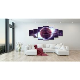 Canvas Wall Art The violet planet, Glowing in the dark, Set of 7, 100 x 240 cm (1 panel 40 x 100 cm, 2 panels 35 x 90 cm, 2 panels 30 x 60 cm, 2 panels 30 x 40 cm)