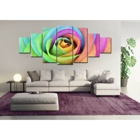 Canvas Wall Art Multicolored roses, Glowing in the dark, Set of 7, 100 x 240 cm (1 panel 40 x 100 cm, 2 panels 35 x 90 cm, 2 panels 30 x 60 cm, 2 panels 30 x 40 cm)