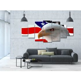 Canvas Wall Art American eagle, Glowing in the dark, Set of 7, 100 x 240 cm (1 panel 40 x 100 cm, 2 panels 35 x 90 cm, 2 panels 30 x 60 cm, 2 panels 30 x 40 cm)