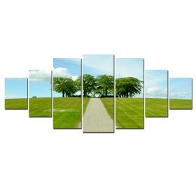 Canvas Wall Art Drive through the field, Glowing in the dark, Set of 7, 100 x 240 cm (1 panel 40 x 100 cm, 2 panels 35 x 90 cm, 2 panels 30 x 60 cm, 2 panels 30 x 40 cm)