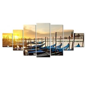 Canvas Wall Art Gondolas, Glowing in the dark, Set of 7, 100 x 240 cm (1 panel 40 x 100 cm, 2 panels 35 x 90 cm, 2 panels 30 x 60 cm, 2 panels 30 x 40 cm)