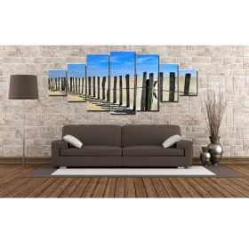 Canvas Wall Art Summer landscape, Glowing in the dark, Set of 7, 100 x 240 cm (1 panel 40 x 100 cm, 2 panels 35 x 90 cm, 2 panels 30 x 60 cm, 2 panels 30 x 40 cm)