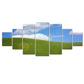 Canvas Wall Art Green field, Glowing in the dark, Set of 7, 100 x 240 cm (1 panel 40 x 100 cm, 2 panels 35 x 90 cm, 2 panels 30 x 60 cm, 2 panels 30 x 40 cm)