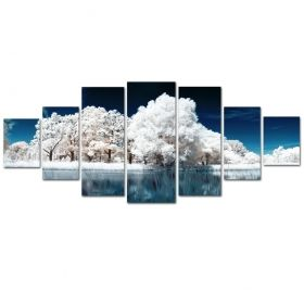 Canvas Wall Art Frozen forest, Glowing in the dark, Set of 7, 100 x 240 cm (1 panel 40 x 100 cm, 2 panels 35 x 90 cm, 2 panels 30 x 60 cm, 2 panels 30 x 40 cm)