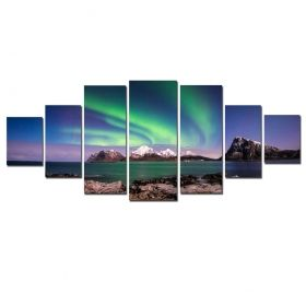 Canvas Wall Art Aurora Borealis, Glowing in the dark, Set of 7, 100 x 240 cm (1 panel 40 x 100 cm, 2 panels 35 x 90 cm, 2 panels 30 x 60 cm, 2 panels 30 x 40 cm)