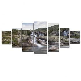 Canvas Wall Art Mountain river, Glowing in the dark, Set of 7, 100 x 240 cm (1 panel 40 x 100 cm, 2 panels 35 x 90 cm, 2 panels 30 x 60 cm, 2 panels 30 x 40 cm)