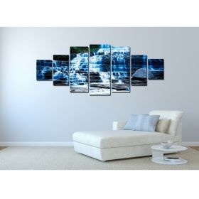 Canvas Wall Art Waterfall, Glowing in the dark, Set of 7, 100 x 240 cm (1 panel 40 x 100 cm, 2 panels 35 x 90 cm, 2 panels 30 x 60 cm, 2 panels 30 x 40 cm)