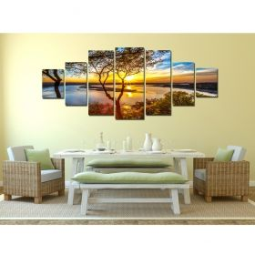 Canvas Wall Art Sunset on the lake, Glowing in the dark, Set of 7, 100 x 240 cm (1 panel 40 x 100 cm, 2 panels 35 x 90 cm, 2 panels 30 x 60 cm, 2 panels 30 x 40 cm)