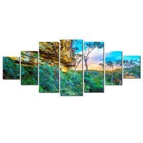 Canvas Wall Art The secrets of nature, Glowing in the dark, Set of 7, 100 x 240 cm (1 panel 40 x 100 cm, 2 panels 35 x 90 cm, 2 panels 30 x 60 cm, 2 panels 30 x 40 cm)