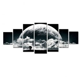 Canvas Wall Art The romantic moon, Glowing in the dark, Set of 7, 100 x 240 cm (1 panel 40 x 100 cm, 2 panels 35 x 90 cm, 2 panels 30 x 60 cm, 2 panels 30 x 40 cm)