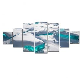 Canvas Wall Art Ice, Glowing in the dark, Set of 7, 100 x 240 cm (1 panel 40 x 100 cm, 2 panels 35 x 90 cm, 2 panels 30 x 60 cm, 2 panels 30 x 40 cm)