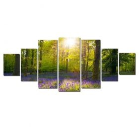 Canvas Wall Art Light in the forest, Glowing in the dark, Set of 7, 100 x 240 cm (1 panel 40 x 100 cm, 2 panels 35 x 90 cm, 2 panels 30 x 60 cm, 2 panels 30 x 40 cm)