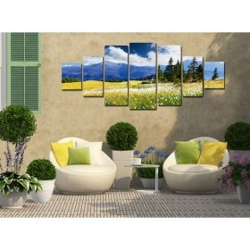 Canvas Wall Art Stunning landscape, Glowing in the dark, Set of 7, 100 x 240 cm (1 panel 40 x 100 cm, 2 panels 35 x 90 cm, 2 panels 30 x 60 cm, 2 panels 30 x 40 cm)