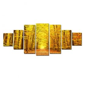 Canvas Wall Art Autumn forest, Glowing in the dark, Set of 7, 100 x 240 cm (1 panel 40 x 100 cm, 2 panels 35 x 90 cm, 2 panels 30 x 60 cm, 2 panels 30 x 40 cm)