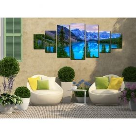 Canvas Wall Art Blue mountain landscape, Glowing in the dark, Set of 7, 100 x 240 cm (1 panel 40 x 100 cm, 2 panels 35 x 90 cm, 2 panels 30 x 60 cm, 2 panels 30 x 40 cm)