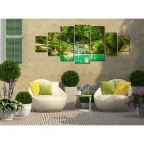 Canvas Wall Art The beauty of the forest, Glowing in the dark, Set of 7, 100 x 240 cm (1 panel 40 x 100 cm, 2 panels 35 x 90 cm, 2 panels 30 x 60 cm, 2 panels 30 x 40 cm)