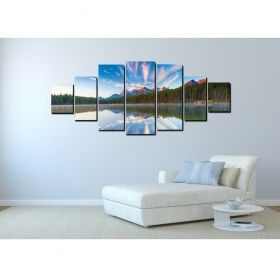Canvas Wall Art Reflection of the mountain, Glowing in the dark, Set of 7, 100 x 240 cm (1 panel 40 x 100 cm, 2 panels 35 x 90 cm, 2 panels 30 x 60 cm, 2 panels 30 x 40 cm)