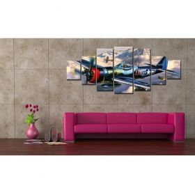 Canvas Wall Art Iron Flight, Glowing in the dark, Set of 7, 100 x 240 cm (1 panel 40 x 100 cm, 2 panels 35 x 90 cm, 2 panels 30 x 60 cm, 2 panels 30 x 40 cm)