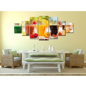 Canvas Wall Art Fresh, Glowing in the dark, Set of 7, 100 x 240 cm (1 panel 40 x 100 cm, 2 panels 35 x 90 cm, 2 panels 30 x 60 cm, 2 panels 30 x 40 cm)