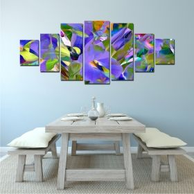 Canvas Wall Art Floral Abstract, Glowing in the dark, Set of 7, 100 x 240 cm (1 panel 40 x 100 cm, 2 panels 35 x 90 cm, 2 panels 30 x 60 cm, 2 panels 30 x 40 cm)