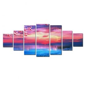 Canvas Wall Art Sunset on the beach, Glowing in the dark, Set of 7, 100 x 240 cm (1 panel 40 x 100 cm, 2 panels 35 x 90 cm, 2 panels 30 x 60 cm, 2 panels 30 x 40 cm)