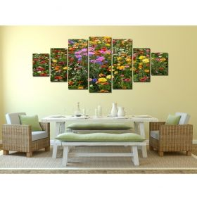 Canvas Wall Art Flower field, Glowing in the dark, Set of 7, 100 x 240 cm (1 panel 40 x 100 cm, 2 panels 35 x 90 cm, 2 panels 30 x 60 cm, 2 panels 30 x 40 cm)