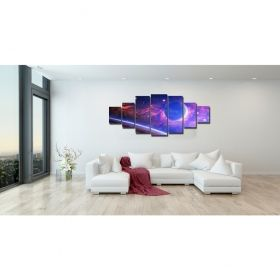 Canvas Wall Art Planet from another galaxy, Glowing in the dark, Set of 7, 100 x 240 cm (1 panel 40 x 100 cm, 2 panels 35 x 90 cm, 2 panels 30 x 60 cm, 2 panels 30 x 40 cm)