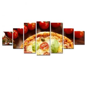 Set Tablou Pizzaaa, 7 piese, luminos in intuneric, 100 x 240 cm (1 piesa 40 x 100 cm, 2 piese 35 x 90 cm, 2 piese 30 x 60 cm, 2 piese 30 x 40 cm)