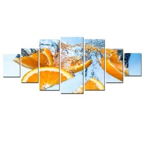 Canvas Wall Art Oranges, Glowing in the dark, Set of 7, 100 x 240 cm (1 panel 40 x 100 cm, 2 panels 35 x 90 cm, 2 panels 30 x 60 cm, 2 panels 30 x 40 cm)