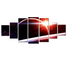 Canvas Wall Art Sunset on Saturn, Glowing in the dark, Set of 7, 100 x 240 cm (1 panel 40 x 100 cm, 2 panels 35 x 90 cm, 2 panels 30 x 60 cm, 2 panels 30 x 40 cm)