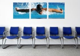 Canvas Wall Art Olympic swimming, Glowing in the dark, Set of 3, 80 x 240 cm (3 panels 80 x 80 cm)