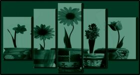 Canvas Wall Art Flowers in pots, Glowing in the dark, Set of 5, 90 x 180 cm (1 panel 30 x 90 cm, 2 panels 30 x 80 cm, 2 panels 40 x 60 cm)