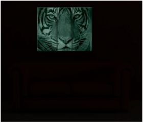 Canvas Wall Art Tiger, Glowing in the dark, Set of 3, 120 x 160 cm (1 panel 40 x 120 cm, 2 panels 60 x 120 cm)