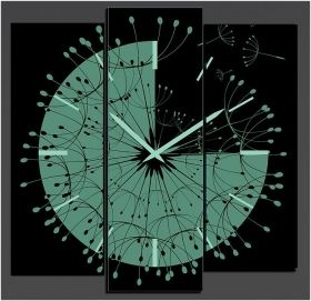 Canvas Wall Art Clock, Glowing in the dark, Set of 3, 90 x 120 cm (1 panel 30 x 90 cm, 2 panels 30 x 80 cm)