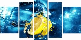 Canvas Wall Art Lemon, Glowing in the dark, Set of 5, 90 x 180 cm (1 panel 30 x 90 cm, 2 panels 30 x 80 cm, 2 panels 40 x 60 cm)