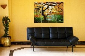 Canvas Wall Art Maple, Glowing in the dark, Set of 4, 90 x 120 cm (4 panels 30 x 90 cm)