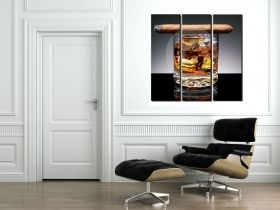 Canvas Wall Art Whiskey and cigar, Glowing in the dark, Set of 3, 120 x 120 cm (3 panels 40 x 120 cm)