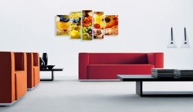 Canvas Wall Art Hypnotic, Glowing in the dark, Set of 5, 90 x 180 cm (1 panel 30 x 90 cm, 2 panels 30 x 80 cm, 2 panels 40 x 60 cm)